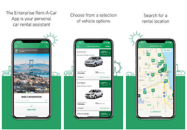 enterprise car rental app screen