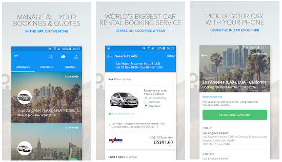 rentalcars.com screen android