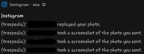 Instagram screenshot story notification in DM